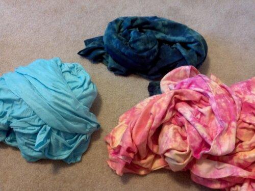 three knit fabric bundles