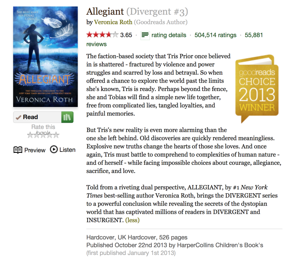 Allegiant on Goodreads