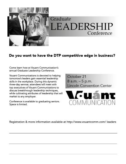 Sample black and white flyer for a fake leadership conference.