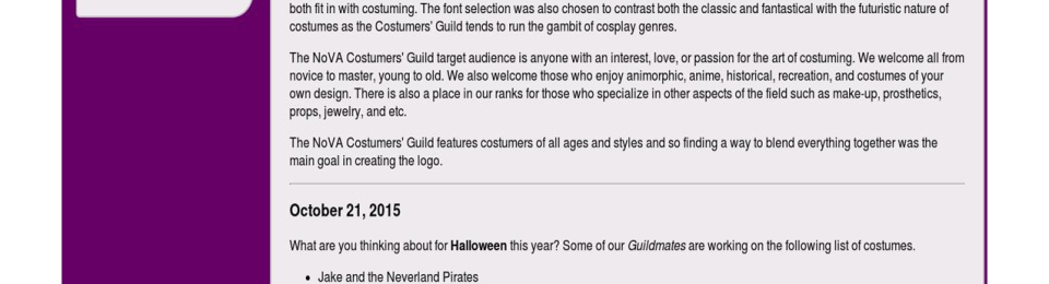 screen capture of my nova costumers guild