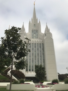 San Diego Temple on Arrival with grey skies.